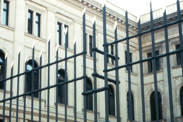 Schmiedeeiserner Zaun und Tor