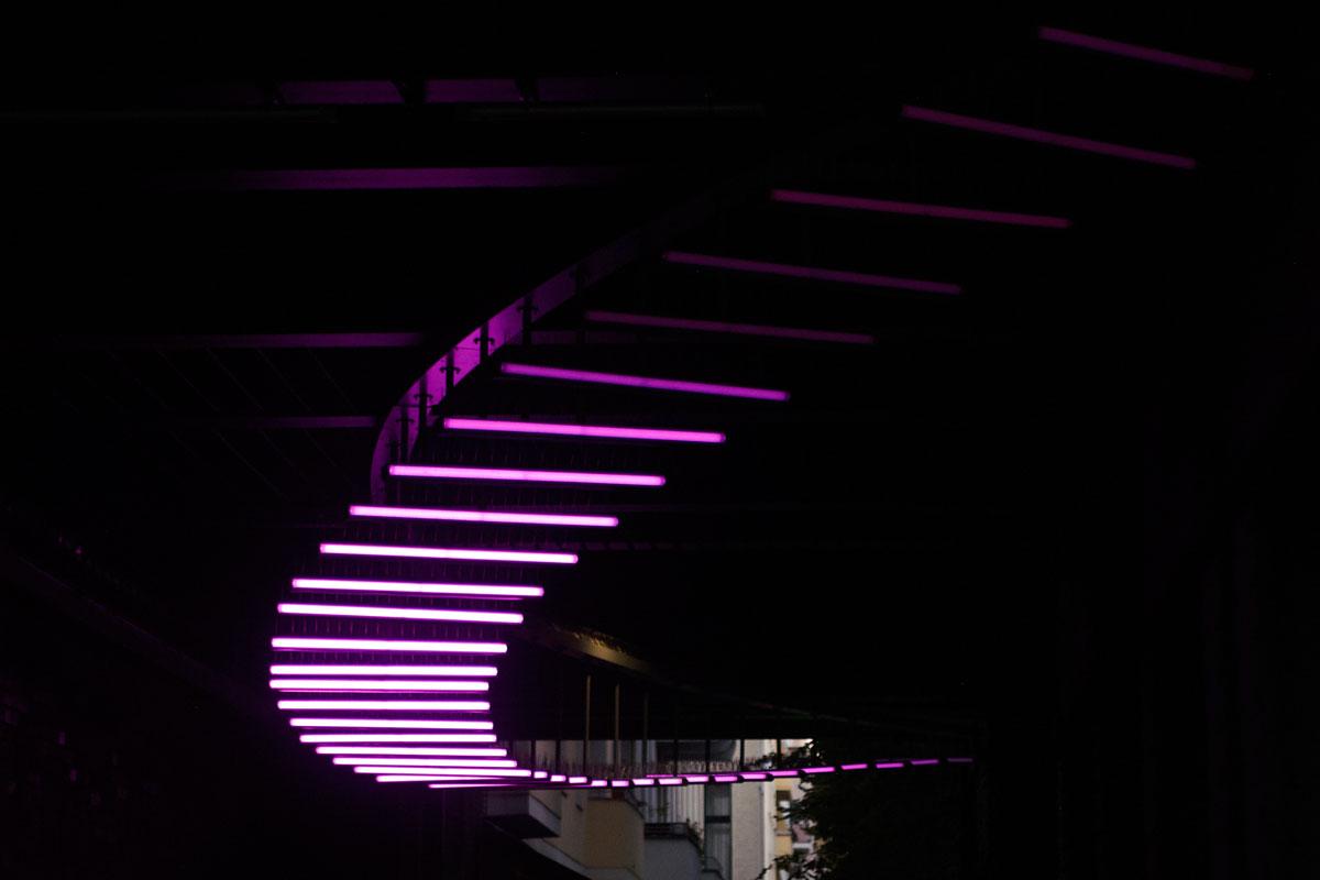 Magentafarbene LED-Röhren, Foto: Christian Fittkau